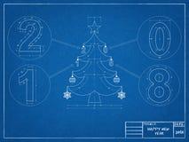 Christmas Tree 2018 Blueprint Stock Photo