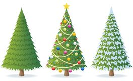 Christmas Tree. Cartoon illustration of Christmas tree in 3 different situations. No transparency used. Basic (linear) gradients stock illustration