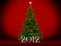 Christmas tree. On a red background Royalty Free Stock Photos