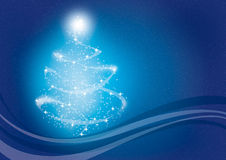 Christmas tree. Graphic Christmas tree on  a blue background Royalty Free Stock Images