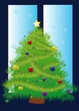 Christmas tree. Decorated Christmas tree outside the window Royalty Free Stock Photo