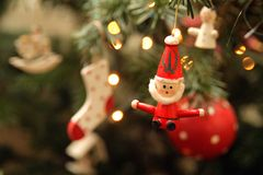 Christmas tree. Decorations including a small Santa Royalty Free Stock Images