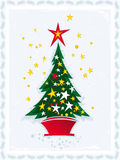 Christmas tree. Vector illustration of Christmas tree on blue background Royalty Free Stock Images