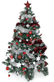 Christmas tree. With lot of silver and red decoration Royalty Free Stock Photos
