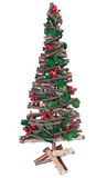 Christmas tree. Hand made christmas tree with holly and red berries Stock Image