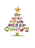 Christmas tree. With text, we wish you a merry christmas Royalty Free Stock Photos