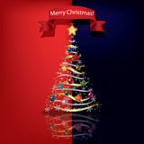 Christmas tree. Abstract red blue greeting with Christmas tree Stock Photos
