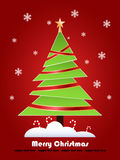 Christmas tree. On a red background, vector Royalty Free Stock Photo