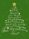 Christmas Tree. An illustration of a Christmas Tree made up of christmas carol lyrics. Background placed on separate layer stock illustration