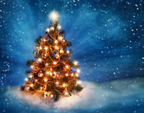 Christmas tree. With lights in winter stock image