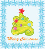 Christmas tree. Christmas card. A fir with color balls surrounded with snowflakes on a blue background Royalty Free Stock Photos