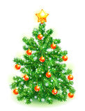 Christmas tree. Decorated with red balls, yellow star and snowflakes Royalty Free Stock Photography