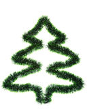 Christmas tree. Made ​​of green tinsel on a white background Royalty Free Stock Images