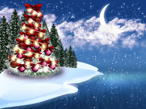 Christmas tree. With decoration and snow Royalty Free Stock Image