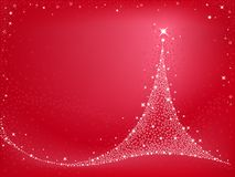 Christmas tree. Shiny Christmas tree on red background Stock Images