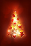 Christmas tree. With stars, lighting red stars Royalty Free Stock Photography