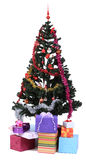 Christmas tree. IMage of a decorated Christmas tree and many gift boxes  against a white background Royalty Free Stock Images
