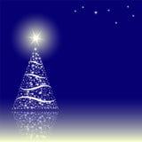 Christmas tree. Blue background with Christmas tree Stock Photos