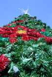 Christmas Tree. Looking up from below an artificial Christmas tree stock images
