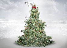 Christmas tree. A christmas tree on a sandy beach with a sea gull placing an ornament at the top of the tree royalty free stock photo