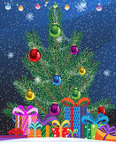 Christmas tree. And heap of bright gifts Royalty Free Stock Photos