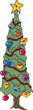 Christmas Tree. Tall Christmas Tree with baubles and star Vector Illustration