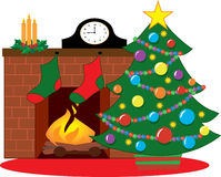 Christmas tree. By a fireplace decorated with stockings Royalty Free Stock Photo