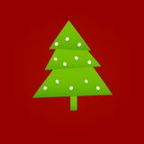 Christmas tree. Green christmas tree on red background, vector illustration Royalty Free Illustration