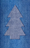 Christmas tree. Cut from denim Stock Photography