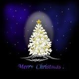 Christmas tree. Christmas gift on a christmas tree Stock Photos