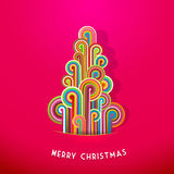 Christmas tree. Made from curled colorful lines.Vector art stock illustration