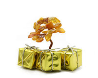 Christmas tree. With gold surprise Stock Photos