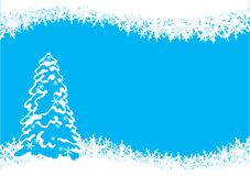 Christmas tree. Vector illustration with stylized christmas tree and snowflakes Stock Photography