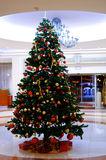 Christmas tree. With present gifts stock images