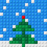 Christmas tree. Formed from plastic construction blocks. Vector illustration Royalty Free Stock Images