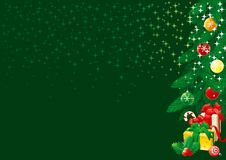 Christmas tree. Vector  Illustration of  christmas fir tree with baubles and gift boxes on abstract background with stars Stock Image