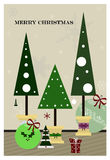 Christmas tree. Christmas greeting card with Christmas tree in unusual pots Stock Image