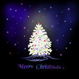 Christmas tree. Christmas white tree on a dark background Royalty Free Stock Images