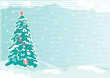 Christmas tree. Vector illustration with stylized christmas tree and snowflakes Royalty Free Stock Photography