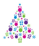 Christmas Tree. Design with stars, snowflakes, gift boxes and baubles Stock Photos