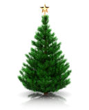 Christmas tree. 3d illustration of christmas tree with golden star, over white background Royalty Free Stock Image