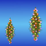 Christmas tree. Two Christmas trees, reflected on glass surfaces. blue background Royalty Free Stock Images
