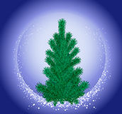 Christmas tree. Christmas fir-tree and falling snow on a background of the night sky Royalty Free Stock Image