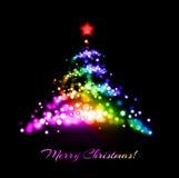 Christmas tree. Spotlight color Christmas tree greeting Stock Image