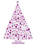 Christmas tree. Christmas greeting card with christmas tree made from christmas shapes stock illustration