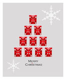 Christmas tree. Christmas greeting card with Christmas tree made from gifts stock illustration