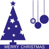 Christmas tree. Blue Christmas tree with stars Vector Illustration