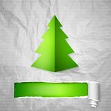 Christmas tree. Creative Christmas tree card with cracked paper. Vector Illustration Stock Photography