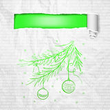 Christmas tree. Creative Christmas tree card with cracked paper. Vector Illustration Royalty Free Stock Photos