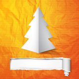 Christmas tree. Creative Christmas tree card with cracked paper. Vector Illustration Royalty Free Stock Photo
